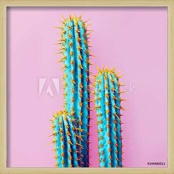 Πλαισιωμένη αφίσα  Set Neon Cactus. Minimal creative stillife
