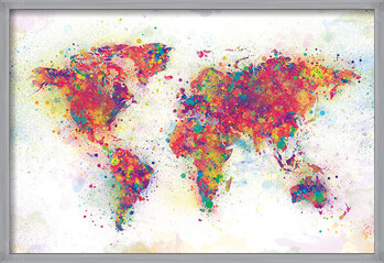 Πλαισιωμένη αφίσα World Map - Colour Splash