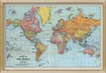 Πλαισιωμένη αφίσα Stanfords General Map Of The World - Colour