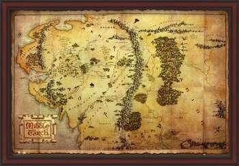 Πλαισιωμένη αφίσα The Hobbit - Middle Earth Map